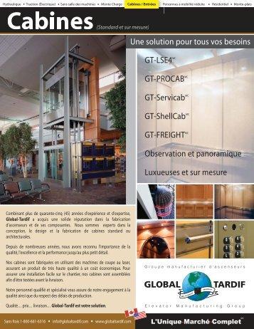 Cabines - Global Tardif Groupe manufacturier d'ascenseurs