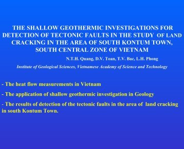 The shallow geothermic investigations for detection of tectonic faults ...