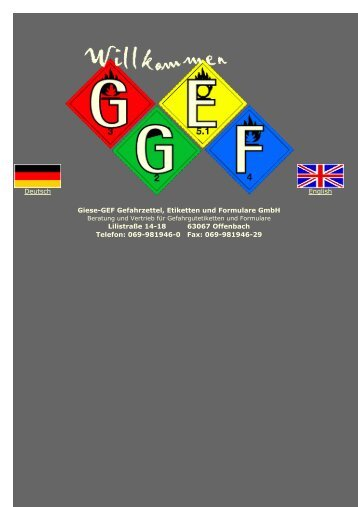 GEFAHRZETTEL für den Transport gefährlicher ... - Giese-GEF GmbH