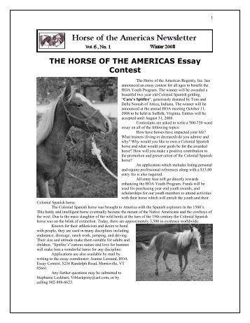 THE HORSE OF THE AMERICAS Essay Contest
