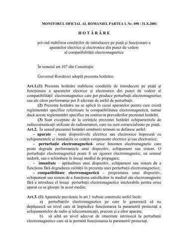 H O T Ă R ‰ R E privind stabilirea condiţiilor de introducere pe piaţă ...