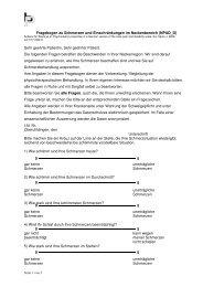Fragebogen für Nackenschmerzen - Physiotherapie Brem