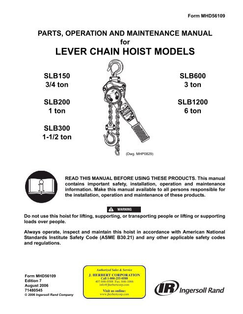 Parts, Operation & Maintenance Manual, Lever Chain Hoist