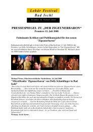 """pressespiegel zu """"der zigeunerbaron"""" - Lehár Festival in Bad Ischl"""