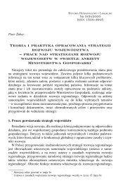 Teoria i praktyka opracowania strategii rozwoju województwa