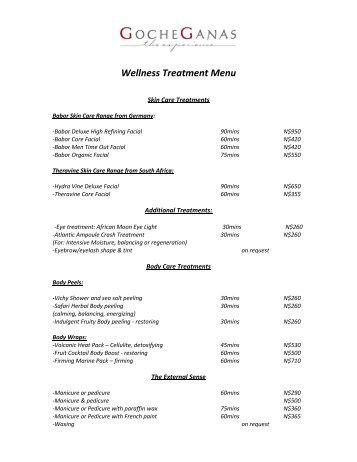 Wellness Treatment Menu - GocheGanas