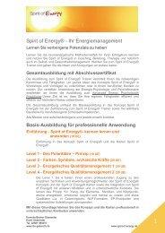 Spirit of Energy® - Ihr Energiemanagement - Landsiedel NLP Training