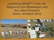 Launching MAQS™ in the US - (IZS) delle Regioni Lazio e Toscana