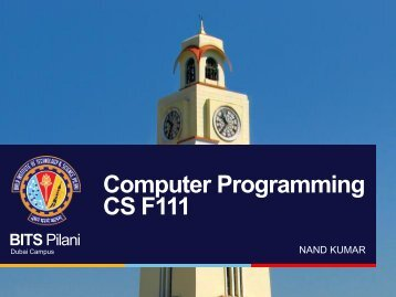 Basic of Computer Programming - BITS Pilani