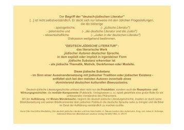 """Der Begriff der """"deutsch-jüdischen Literatur"""" [...] ist nicht ..."""