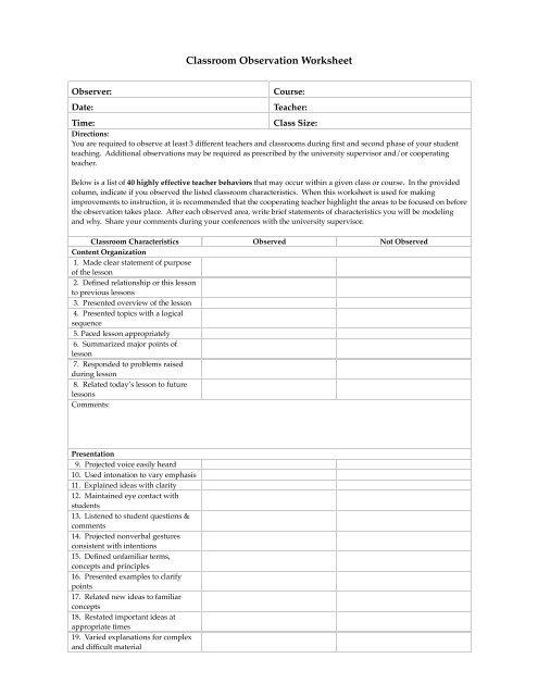 Classroom Observation Worksheet - Wingate University