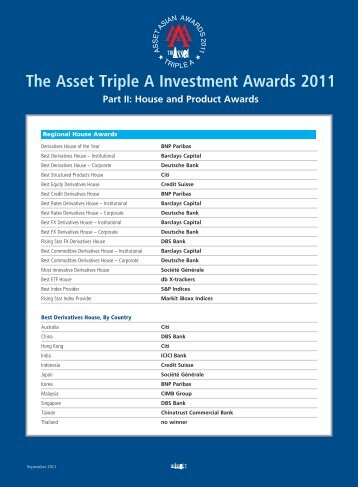 The Asset Triple A Investment Awards 2011 Part II