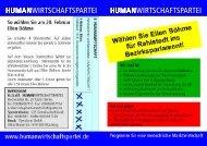 Flugblatt zur Kandidatur - Humanwirtschaftspartei