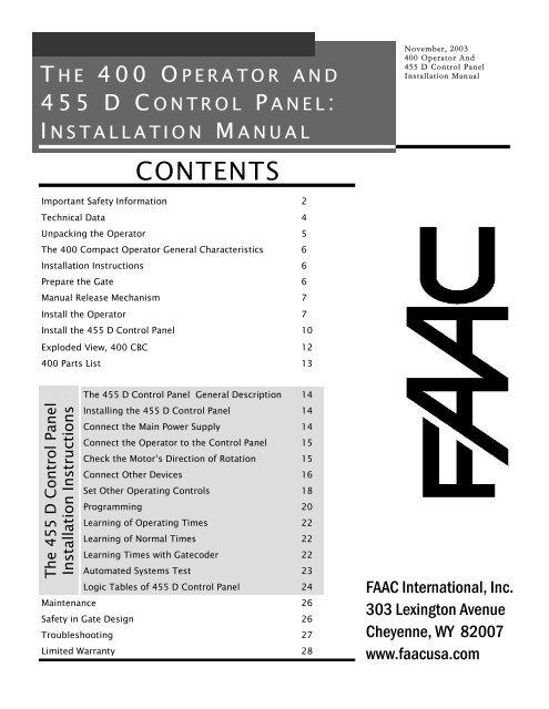 455 MPS Control Panel Installation Manual - Gates N Fences