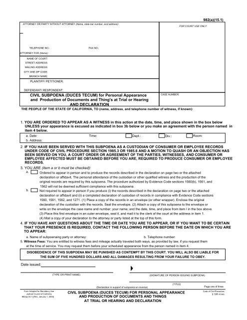 CIVIL SUBPOENA (DUCES TECUM) for     - getMedLegal com