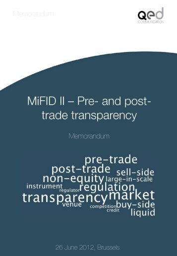 MiFID II – Pre- and post- trade transparency - QED