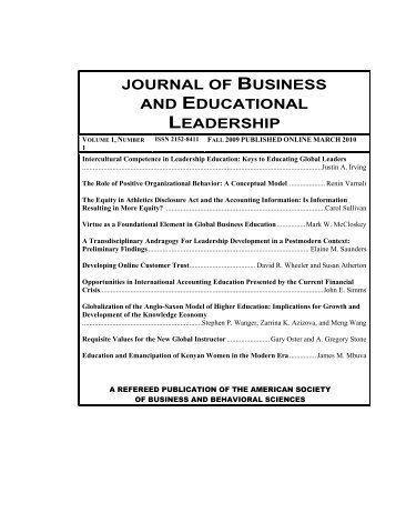 journal of business and educational leadership - Asbbs.org