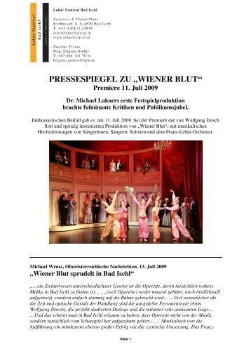 """PRESSESPIEGEL ZU """"WIENER BLUT"""" - Lehár Festival in Bad Ischl"""