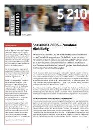 Nr. 02/2006 Sozialhilfe 2005, 4 Seiten - Statistik Baselland - Kanton ...