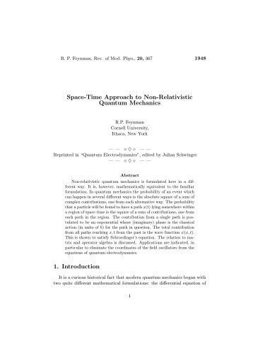 Space-Time Approach To Non-Relativistic - Physics Collection