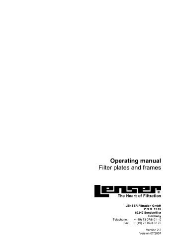 Operating manual Filter plates and frames - Lenser Filtration GmbH ...