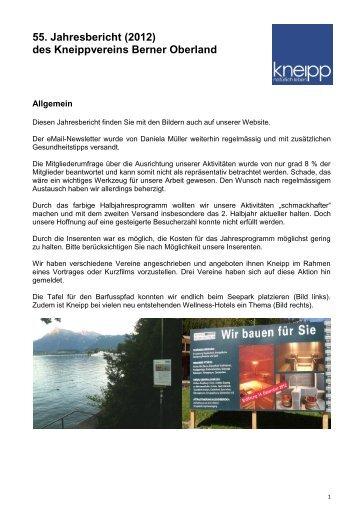Jahresbericht 2012 - Kneipp Verein Berner Oberland