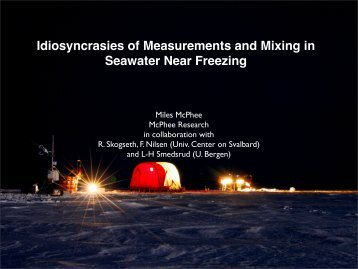 Idiosyncrasies of Measurements and Mixing in Seawater ... - WAIS