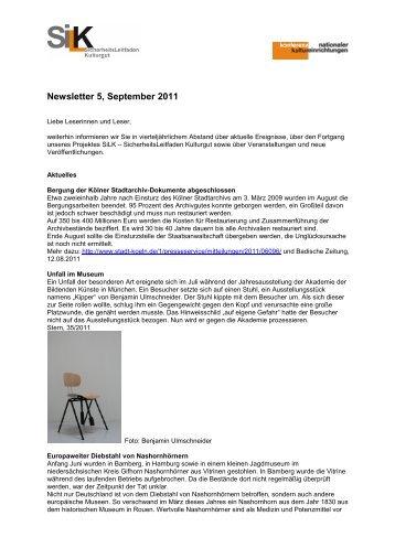 Newsletter SiLK 5 / 2011 - Konferenz Nationaler Kultureinrichtungen
