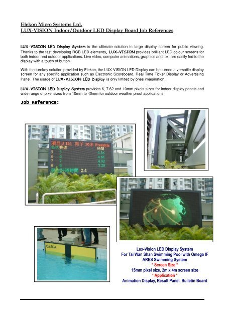 Elekon Micro Systems Ltd  LUX-VISION Indoor/Outdoor LED Display