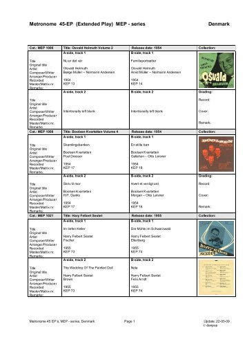 Metronome ep-serie denmark collectors list - danpop.dk