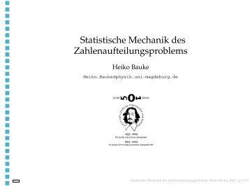Statistische Mechanik des Zahlenaufteilungsproblems
