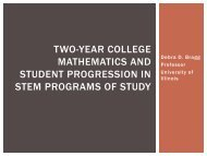 Two-year college mathematics and student progression in stem ...