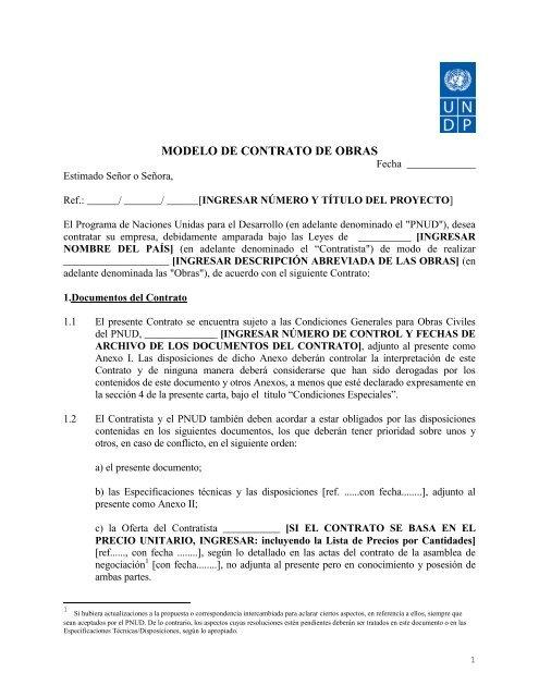 Modelo De Contrato De Obras Regionalcentrelac Undporg