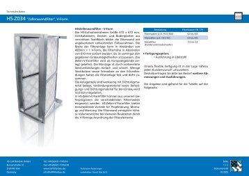 """HS-Z034 """"Zellenwandfilter"""", V-Form - HS Luftfilterbau GmbH"""