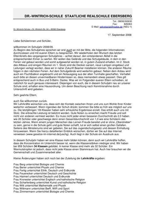 DR.-WINTRICH-SCHULE STAATLICHE REALSCHULE EBERSBERG