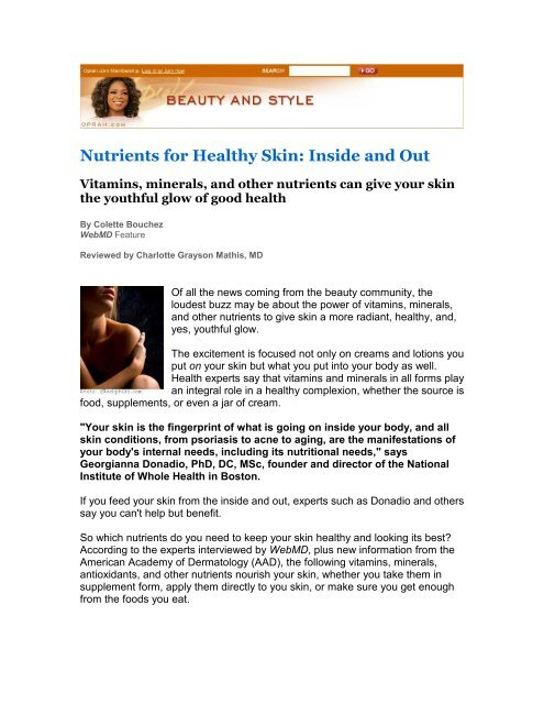 Nutrients For Healthy Skin The National Institute Of Whole Health