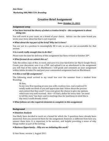 Creative Brief assignment - Pandora Web Space