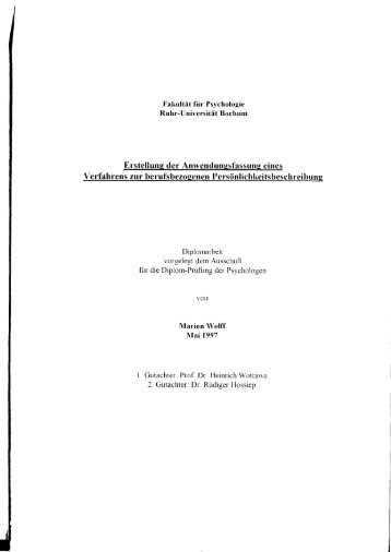 Erstellung der Anwendungsfassung eines Verfahrens zur ...