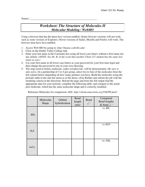 Webmo Worksheet Chemconnections