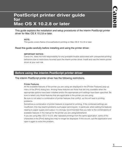 PostScript printer driver guide for Mac OS X 10 2 8 or later