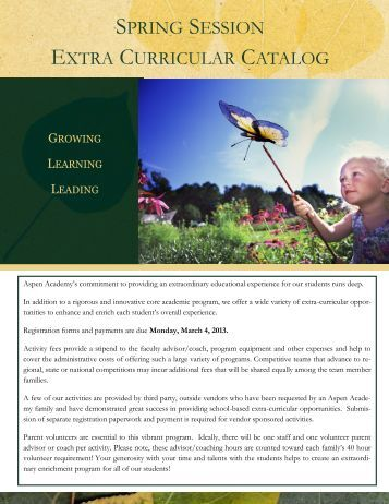 spring session extra curricular catalog - Aspen Academy