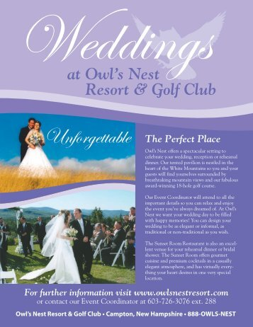 Function Brochure - Owl's Nest Resort & Golf Club