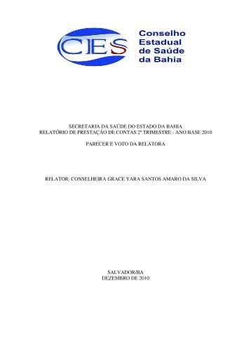 PARECER 2º TRIMESTRE 2010.pdf - Secretaria da Saúde