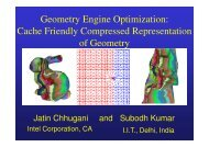 Cache Friendly Compressed Representation of Geometry