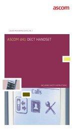 Quick Reference Guide, Ascom d41 DECT Handset, TD 92583NL