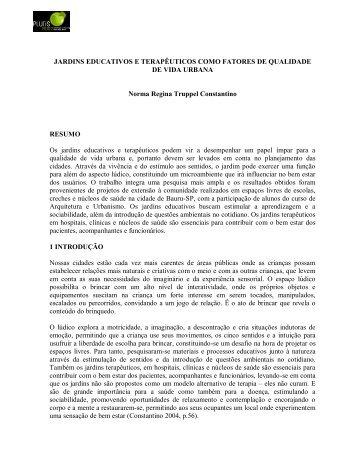 JARDINS EDUCATIVOS E TERAPÊUTICOS COMO ... - Pluris2010