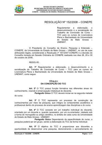 Resolução 152-2008 - Regulamentação de TCC - UNEMAT
