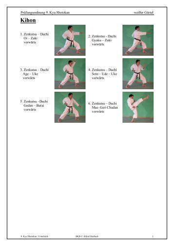 Prüfungsordnung 9. Kyu Shotokan weißer Gürtel 1. Zenkutsu ...