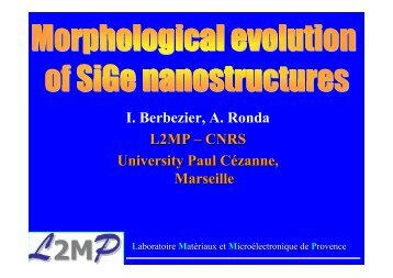 Morphological evolution of SiGe nanostructures (pdf) - IM2NP