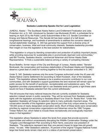 Press Release: Sealaska Leadership Speaks Out for Land Legislation